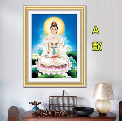 DIY Diamond Painting Full. Dewi Kuan Yim duduk di teratai memberi air suci 56x75 CM