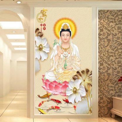 DIY Diamond Painting . Dewi Kuan Yim duduk di teratai dan ikan