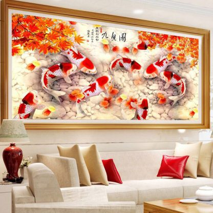 DIY Diamond Painting 5D. 9 Koi Sembilan Ikan Daun Maple.