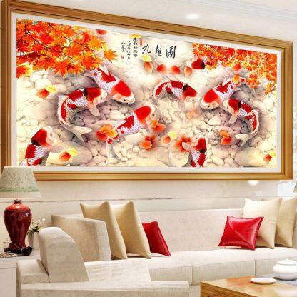 DIY Diamond Painting 5D. 9 Koi Sembilan Ikan Daun Maple.