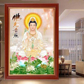 DIY Diamond Painting Full Dewi Guan Yim duduk teratai