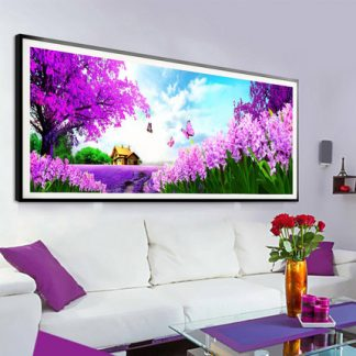 DIY Diamond Painting 5D. Pemandangan Lavender