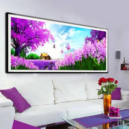 DIY Diamond Painting 5D. Pemandangan Lavender