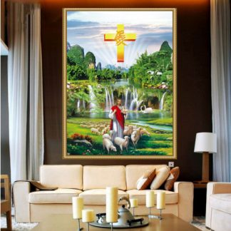 DIY Diamond painting Full. Yesus pengembala waterfall