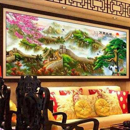 diamond painting 5d. tembok raksasa dan pohon pinus